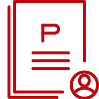 Line art image of a stack of documents with a letter P and an information button