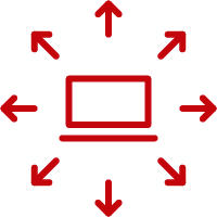 Line art image of a computer with arrows going outward