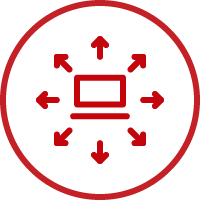 Line art image of a computer with arrows going outward in a circle