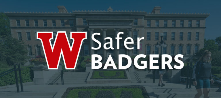 Safer Badgers logo superimposed over a picture of masked students walking in front of Agricultural Hall