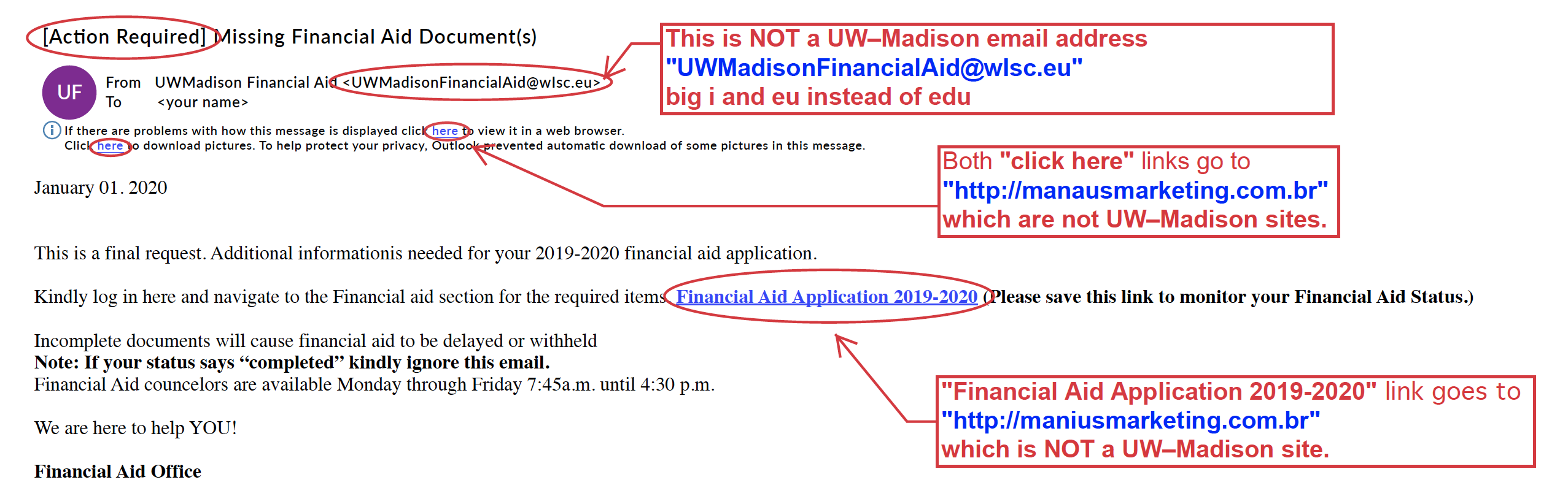 Example of a phishing financial aid email to students