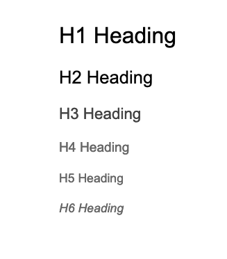 A visual example of headings level H1 through H6