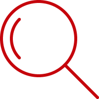 Line art image of a magnifying glass