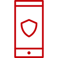 Line art image of a phone with a shield on the screen