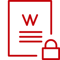 Line art image of a sheet of paper with a W on it and a lock