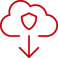 Line art image of a shield in a cloud with a down arrow