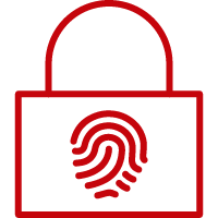 Line art image of a lock with a finger print