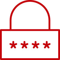 Line art image of a lock with four asterisks