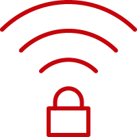 Line art image of a lock with Wi-Fi signals