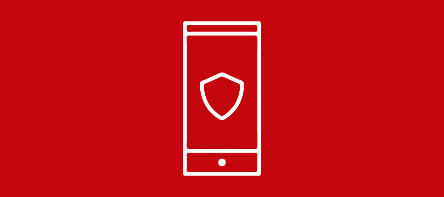 Mobile device icon with shield on the screen