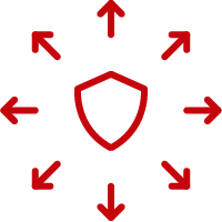 Line art image of a shield with arrows going outward in every direction