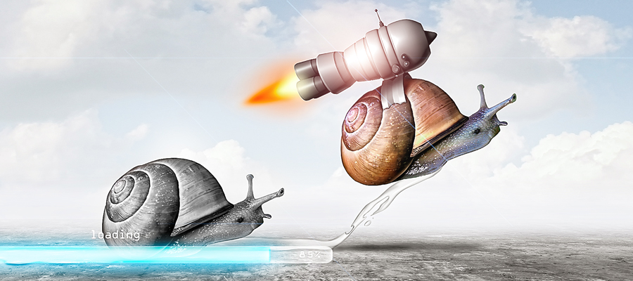 Slow snail with loading bar, fast snail with jetpack
