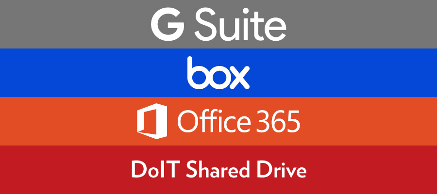 G Suite, box, Office 365 and DoIT Shared Drive