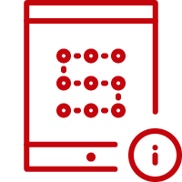 Line art image of a tablet with the letter S and an information button