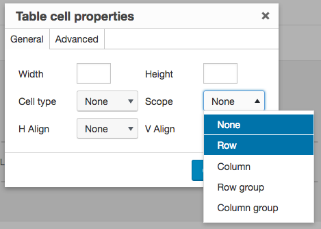 screenshot of the TinyMCE Advanced editor's table cell properties options