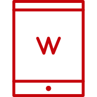 Line art image of a tablet with W on the screen