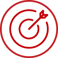 Line art image of a target with an arrow in the bullseye