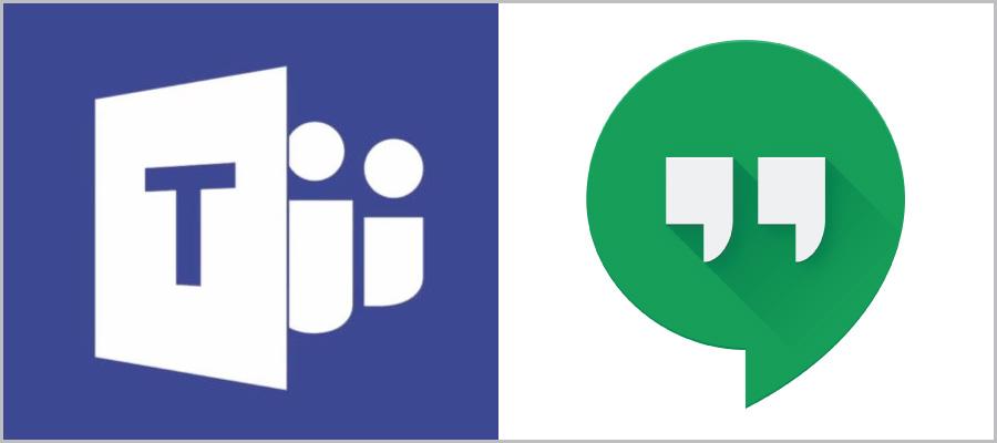 Microsoft Teams and Google Hangouts icons