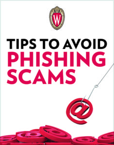 Tips to avoid phishing scams brochure cover with W crest and @ symbols being caught by a fishing hook