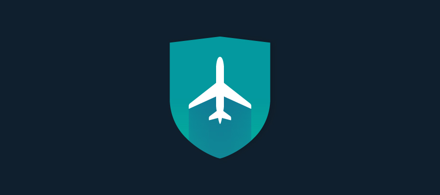Icon of a shield and an airplane