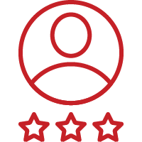 Line art image of a user with three stars