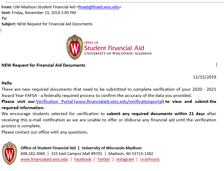 Example of a legitimate email from the Office of Student Financail Aid