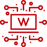 Line art image of a laptop with a W on the screen and circuits