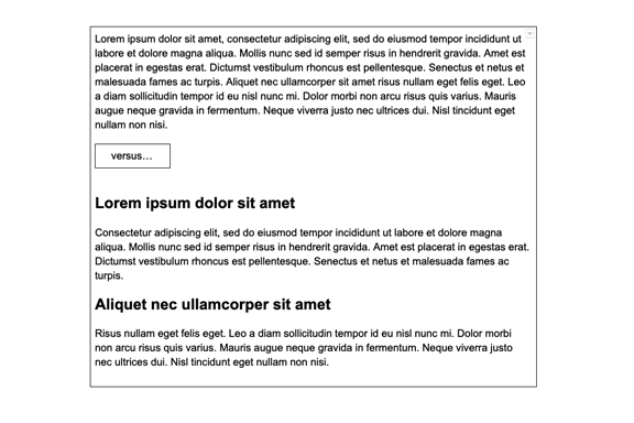 The differences between the first example of all text, versus the second example with split up copy and clear headline groupings