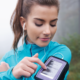 Woman exercising with iPhone