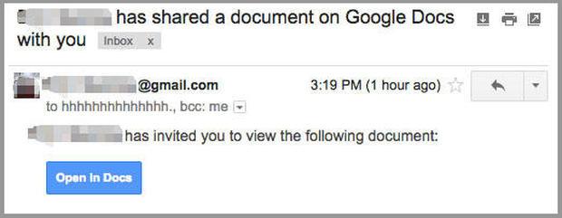 Image Google Doc phishing scam