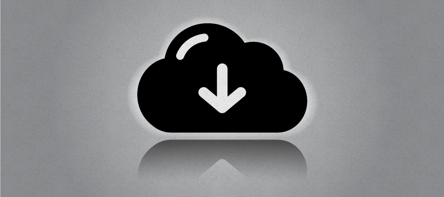 Download symbol and black cloud