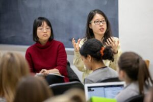 Kaiping Chen, an assistant professor of life sciences communication, speaks to her LSC 250 class