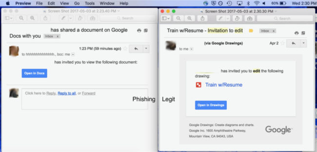 Example of the Google Docs phishing email