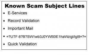 Known scam subject lines
