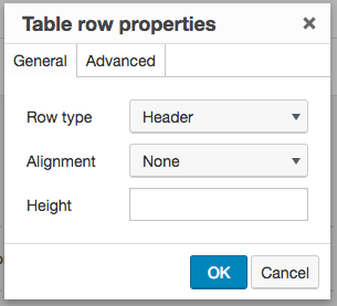 screenshot of the Tiny MCE Advanced table row properties options