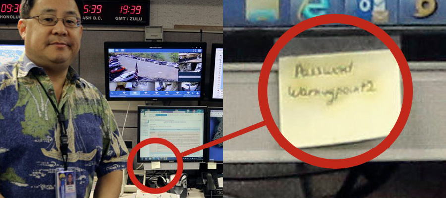 Password at nuclear facility on post-it not stuck to computer monitor