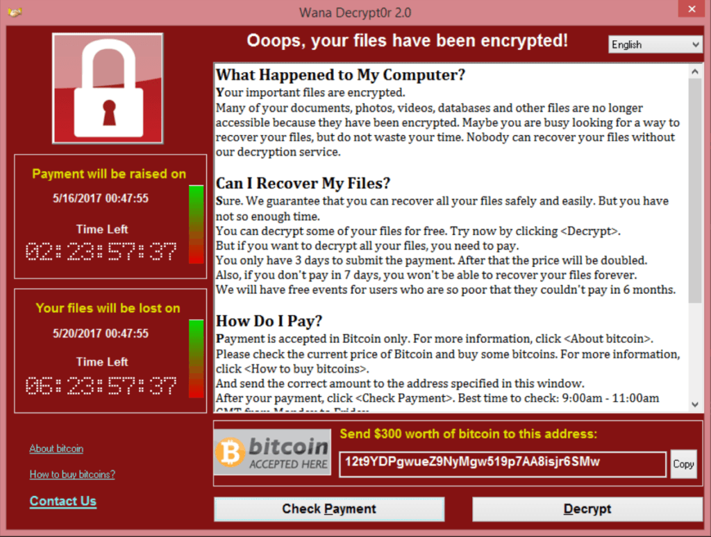 Screenshot WannaCry ransomware